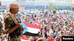 南也門分離主義力量的支持者在也門亞丁舉行反政府集會 (2018年1月28日)
