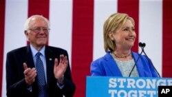 Bernie Sanders a apporté son soutien à Hillary Clinton mardi 12 juillet 2016 à Portsmouth, dans le New Hampshire.