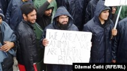 Refugees and migrants protesting in camp Lipa during winter time - January 3rd 2021