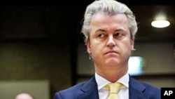 Geert Wilders, leader of the Dutch PVV (Party for Freedom), sits in court in Amsterdam on February 14, 2011