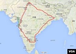 """红线为印度高铁计划的主要路段,被称为""""钻石四边形""""。绿线为日本获得的孟买-艾哈迈达巴德铁路线。(美国之音朱诺拍摄)"""