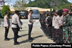 Gelar pasukan di Jayapura pada hari Jumat (24/9) untuk mengamankan PON. (Courtesy: Polda Papua)