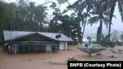 Banjir dahsyat di Belitung sejak akhir pekan lalu. (Foto: courtesy BNPB)