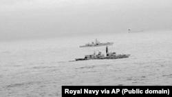 Британский фрегат сопровождает российский военный корабль «Адмирал Горшков»