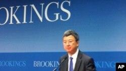 中國經濟學家朱民出任國際貨幣基金組織副總裁的職務。圖為他早前在布魯金斯學會演講。