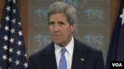 美国国务卿克里(美国之音视频截图) Secretary of the State John Kerry (VOA Video)
