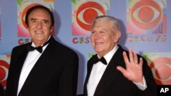 FILE - Actors Jim Nabors, left, and Andy Griffith arrive at CBS's 75th anniversary celebration, Nov. 2, 2003, in New York.