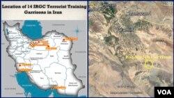 گروه نزدیک به مجاهدین خلق با انتشار این نقشه ها می گوید در این مکانها ایران به «تروریست ها» آموزش می دهد.