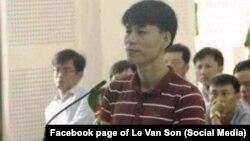 Nhà hoạt động Nguyễn Văn Oai tại một phiên tòa. Ảnh do nhà hoạt động Lê Văn Sơn đăng trên Facebook cá nhân hôm 18/9/2017