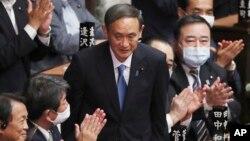 菅義偉星期三在國會眾議院當選日本新首相。(2020年9月16日)
