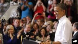 美國總統奧巴馬4月18日在俄亥俄州展開競選活動發表講話