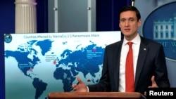 """博塞爾特2017年在一次記者會上公開指責北韓用""""想哭""""(WannaCry)勒索軟件發動網絡攻擊。"""