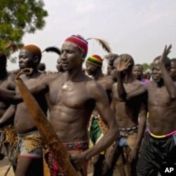 Southern Sudanese from the Dinka tribe take part in a rehearsal celebration for independence in the southern capital of Juba, July 5, 2011