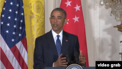 2일 백악관에서 진행된 리셴룽 싱가포르 총리와의 공동 기자회견에서 대선 관련 언급을 하고 있는 바락 오바마 미국 대통령.