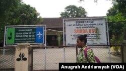 Sekretariat lembaga pers mahasiswa SUARA USU di Universitas Sumatera Utara, 26 Maret 2019. (Foto: VOA/Anugrah Andriansyah)