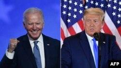 美國共和黨候選人特朗普(右)和民主黨總統候選人拜登分別在選舉日之夜。(2020年11月3日)
