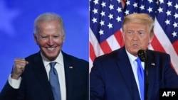 Kandidat dari Partai Republik, Trump (kanan) dan kandidat presiden dari Partai Demokrat, Biden, pada malam penghitungan suara Pilpres AS, 3 November 2020. (Foto: kombinasi)