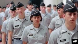 Para taruna di perguruan tinggi militer Citadel, di Charleston, South Carolina, AS. Citadel menolak mengakomodasi taruna berhijab.
