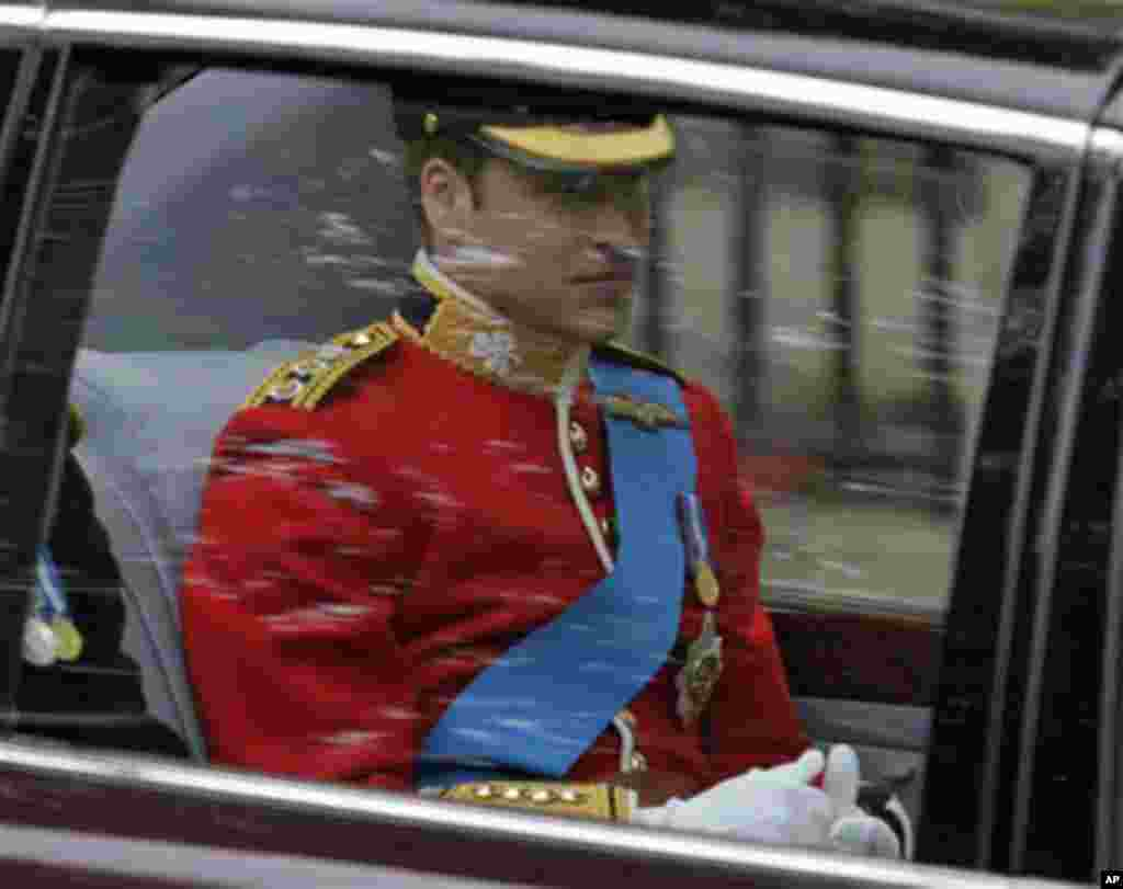 Britain's Prince William on the way to Westminster Abbey for the Royal Wedding in London, April 29, 2011(AP)