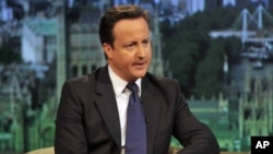 Britain's Prime Minister, David Cameron, speaks on the BBC's Andrew Marr Show, in London May 1, 2011