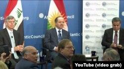 Mesut Barzani Atlantik Konseyi'nde konuşma yaparken