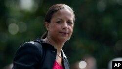 Susan Rice, yahoze ar'umuhanuzi muvy'umutekano k'urwego rw'Igihugu, ku ntwaro ya Barack Obama.
