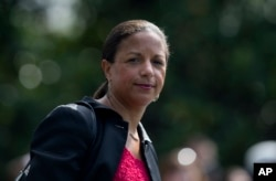 FILE - Susan Rice, U.S. National Security Adviser in the administration of Barack Obama, July 21, 2017.
