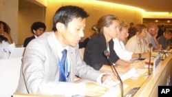 Mr Tenzin Samphel Kayta (1st L) speaks on behalf of Society for Threatened Peoples at the ongoing session of the UN Human Rights Council in Geneva