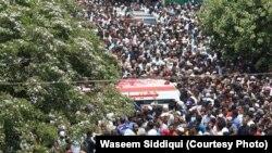 امجد صابری کے جلوسِ جنازہ کا ایک منظر