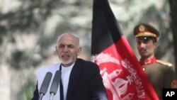 Presiden Afghanistan Ashraf Ghani Ahmadzai dalam sebuah Konferensi Pers di Kabul (3/10).