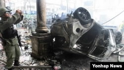 리비아 차량 폭탄테러 현장(자료사진)
