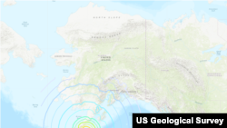 阿拉斯加半岛附近发生地震的位置(2021年7月29日美国地质调查局网站截图)