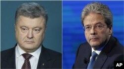 اٹلی کے وزیراعظم جنٹیلونی (دائیں) اور یوکرین کے صدر پوروشنکو (بائیں)