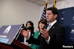 Speaker of the House Paul Ryan speaks at a news conference with House Republican leaders after a closed conference meeting on Capitol Hill in Washington, Dec. 5, 2017.