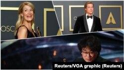 Laura Dern, Brad Pitt y Bong Joon Ho.