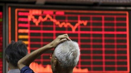 一名股民在北京一家证券交易所观看电子屏幕显示的股市行情 (2015年8月27日)