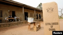 FILE - A sign for Ghana's Electoral Commission is seen at a polling station in Accra during a 2009 poll.