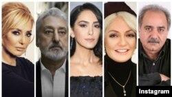 از راست: پرویز پرستویی، مهناز افشار، نازنین بنیادی، ابی و گوگوش