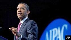4일 미국 워싱턴에서 열린 유대계 로비단체, 미국이스라엘공공정책위원회 행사에서 이란 문제에 대해 연설하는 바락 오바마 미국 대통령.