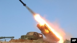 3月14日朝中社發佈的照片顯示兩個島嶼上的炮兵部隊在實彈演習中發射火箭。