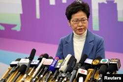 2019年12月16日,香港特首林郑月娥在北京的一个记者会上。