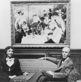 Marjorie and Duncan Phillips in front of Renoir's 'Luncheon of the Boating Party' (1880-81), ca. 1954.