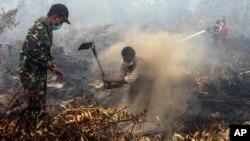 Warga desa dan anggota TNI berusaha memadamkan kebakaran hutan dan lahan di Rimbo Panjang, provinsi Riau (6/9). Presiden Jokowi memerintahkan tindakan hukum yang tegas terhadap pihak yang bertanggung jawab atas kebakaran hutan.