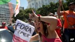 브라질 전역에서 2일 지방자치 단체 선거가 치러지고 있다. 사진은 테메르 정권에 반대하는 시위 모습