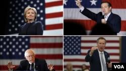 براساس نظرسنجیها در میان دموکراتها، برنی سندرز از هیلاری کلینتون پیش است، در جمهموریخواهها هم تد کروز از ترامپ جلوتر است.