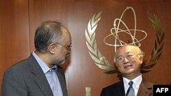 Tổng giám đốc Cơ quan Năng lượng Nguyên tử Quốc tế (IAEA) Yukiya Amano, phải, và Bộ trưởng Ngoại giao Iran Ali Akbar Salehi trước cuộc đàm phán tại Trung tâm Quốc tế ở Vienna, Áo, 12/7/2011