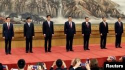 Ban Thường vụ 7 ủy viên do ông Tập Cận Bình đứng đầu ra mắt ở Bắc Kinh, 25/10/2017.