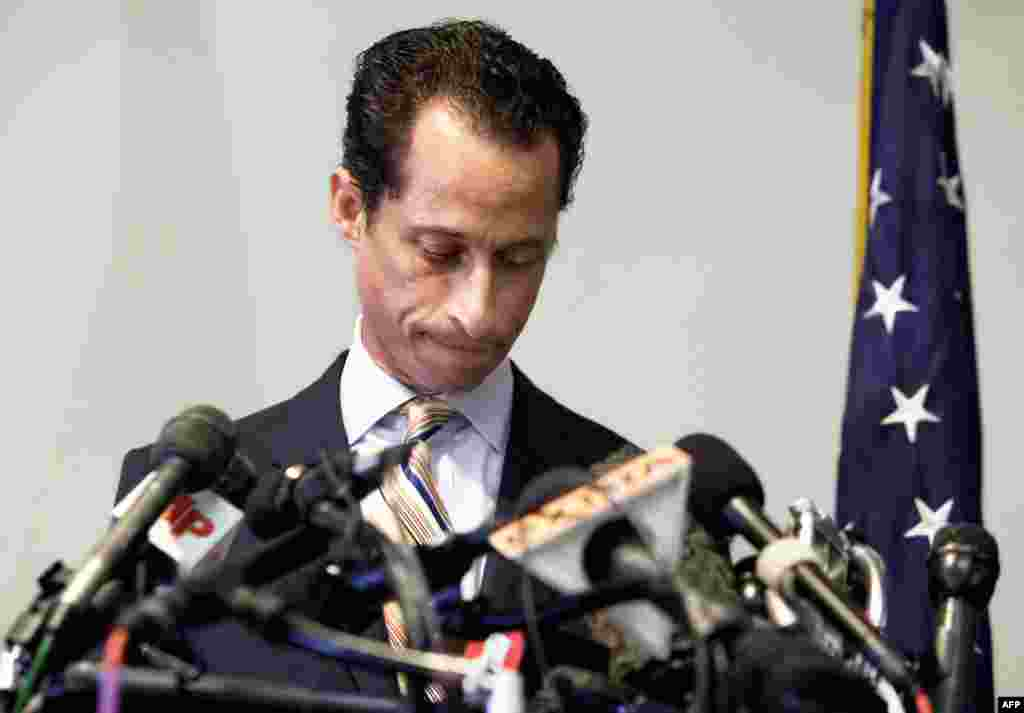 June 16: U.S. Rep. Anthony Weiner announces his resignation from Congress Brooklyn, New York. Weiner resigned from Congress, saying he cannot continue in office amid the intense controversy surrounding sexually explicit messages he sent online to several