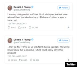 도널드 트럼프 미국 대통령이 29일 트위터에 올린 중국 비판 글.