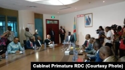 Premier ministre Sylvestre Ilunga Ilunkamba na bokutani na baye ya CACH (Cap pour le changement) mpe ya FCC (Front commun pour le Congo) na Kinshasa, 7 août 2019. (Cabinet Primature RDC)